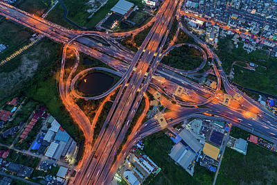 Photograph - Aerial View Of Traffic Jams At Nonthaburi Intersection In The Evening, Bangkok. by Pradeep Raja PRINTS