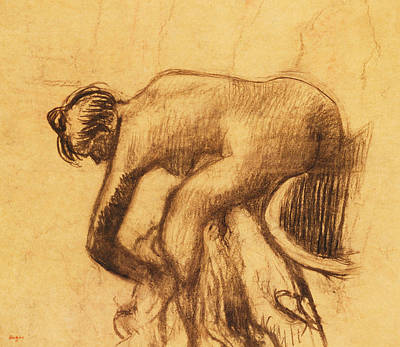 Degas Drawing - After The Bath, Woman Drying Herself by Edgar Degas
