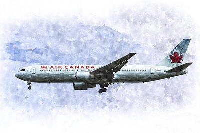 Watercolor Butterflies - Air Canada Boeing 777 Art by David Pyatt
