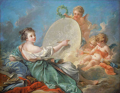 Archangel Art Painting - Allegory Of Painting by Francois Boucher