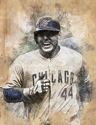 Chicago Cubs Drawing - Anthony Rizzo by Anna J Davis