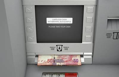 Copy Machine Digital Art - Atm Cardless Cash Withdrawal by Allan Swart