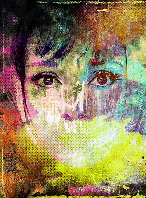 Mixed Media - Audrey Hepburn by Svelby Art