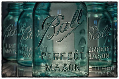Teal Photograph - 5 Ball Jars Closeup No.2 Outline by Pittsburgh Photo Company