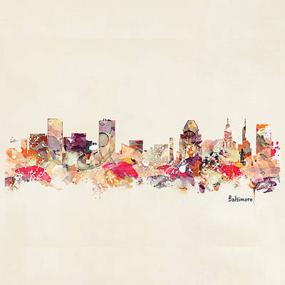 Painting - Baltimore Maryland Skyline by Bri B