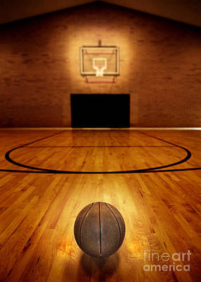 Basketball And Basketball Court Print by Lane Erickson