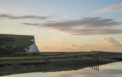 Photograph - Beautiful Dawn Landscape Of Seven Sisters Cliffs Landmark On Eng by Matthew Gibson