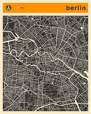 Berlin Map Art Print by Jazzberry Blue