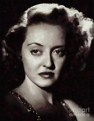 Musicians Paintings - Bette Davis Vintage Hollywood Actress by Mary Bassett