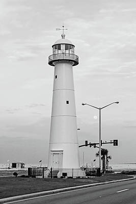 Photograph - Biloxi Lighthouse With Moon - Bw by Scott Pellegrin