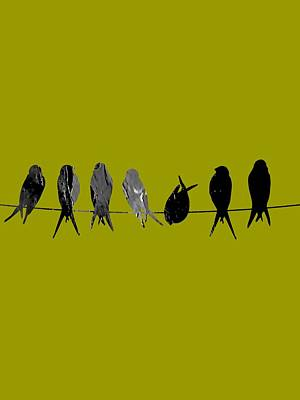 Leaf Mixed Media - Birds On A Wire Collection by Marvin Blaine