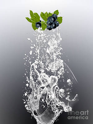 Fruit Mixed Media - Blueberry Splash by Marvin Blaine