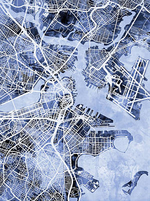 Boston Digital Art - Boston Massachusetts Street Map by Michael Tompsett