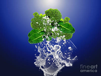 Broccoli Splash Art Print by Marvin Blaine