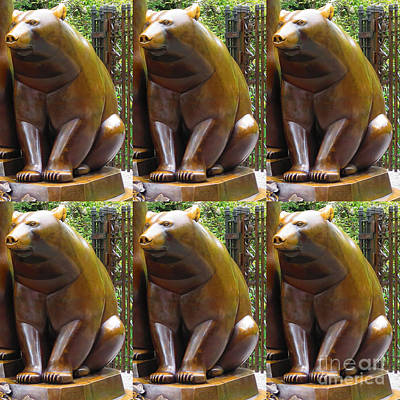 Sculpture - Bronze Statue Sculpture Of Bear Clapping Fineart Photography From Newyork Museum Usa Fineartamerica by Navin Joshi