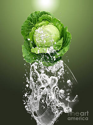 Cabbage Mixed Media - Cabbage Splash by Marvin Blaine