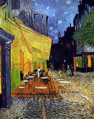 European Street Scene Painting - Cafe Terrace At Night  by Vincent Van Gogh