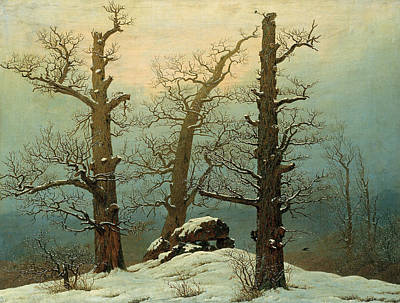 Trees In Snow Painting - Cairn In Snow by Caspar David Friedrich