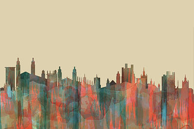 Digital Art - Cambridge England Skyline by Marlene Watson