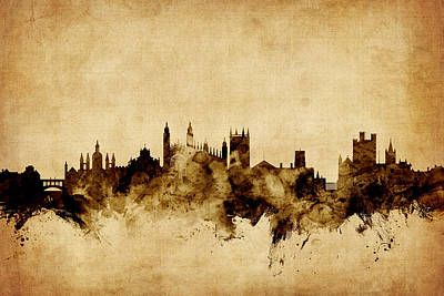 Cambridge Digital Art - Cambridge England Skyline by Michael Tompsett