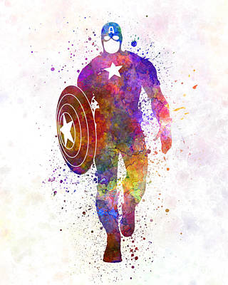 Captain America In Watercolor Art Print by Pablo Romero