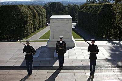 Marble Tomb-stones Photograph - Changing Of Guard At Arlington National by Terry Moore
