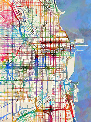 Street Digital Art - Chicago City Street Map by Michael Tompsett