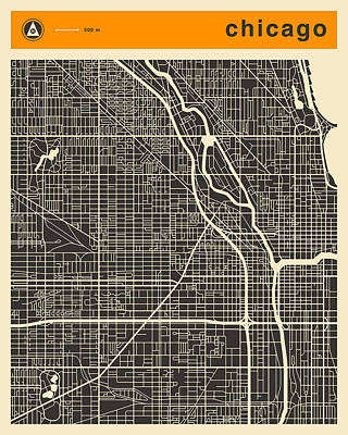 Chicago Wall Art - Digital Art - Chicago Map by Jazzberry Blue