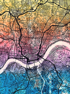 Digital Art - Cincinnati Ohio City Map by Michael Tompsett