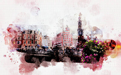 Art Print featuring the digital art City Life In Watercolor Style  by Ariadna De Raadt
