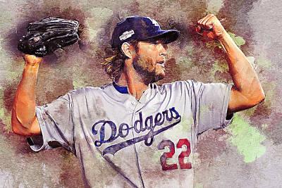 Los Angeles Dodgers Digital Art - Clayton Kershaw by Anna J Davis