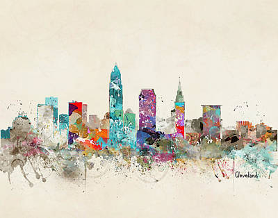 Colourfull Painting - Cleveland Ohio Skyline by Bleu Bri