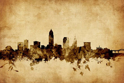 Ohio Digital Art - Cleveland Ohio Skyline by Michael Tompsett