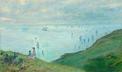 Marine Painting - Cliffs At Pourville by Claude Monet