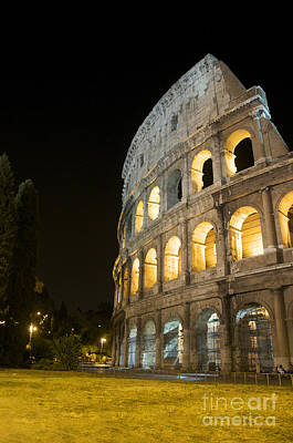 Coliseum Illuminated At Night. Rome Art Print by Bernard Jaubert