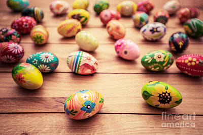 Festive Photograph - Colorful Hand Painted Easter Eggs On Wood by Michal Bednarek