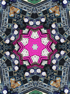 Computer Circuit Board Kaleidoscopic Design Art Print by Amy Cicconi