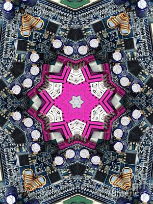 Computer Circuit Board Kaleidoscopic Design Art Print
