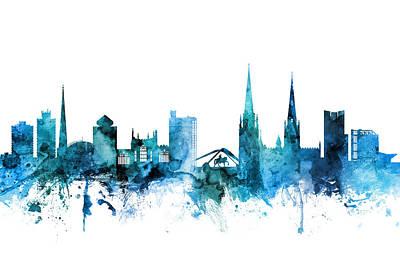 Digital Art - Coventry England Skyline by Michael Tompsett