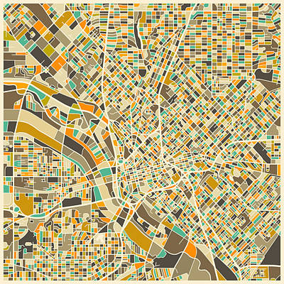 Colorful.modern Digital Art - Dallas Map by Jazzberry Blue