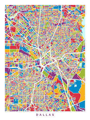 Digital Art - Dallas Texas City Map by Michael Tompsett
