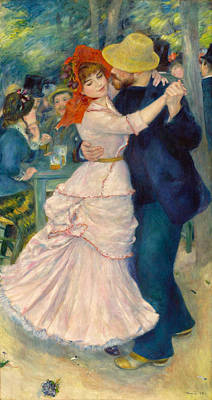 Ballroom Painting - Dance At Bougival by Pierre-Auguste Renoir