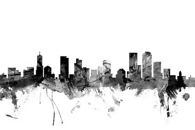 Denver Digital Art - Denver Colorado Skyline by Michael Tompsett