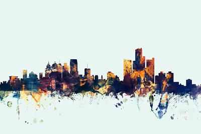 Michigan Digital Art - Detroit Michigan Skyline by Michael Tompsett