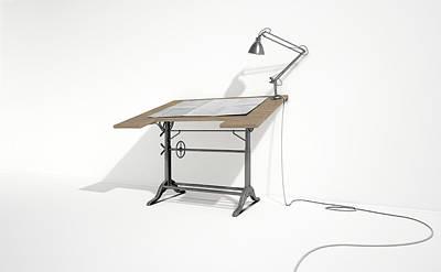 Drafting Desk Lamp And Paper Art Print by Allan Swart