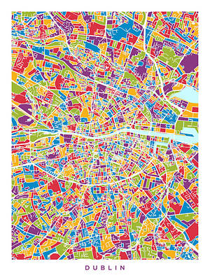 Abstract Map Digital Art - Dublin Ireland City Map by Michael Tompsett