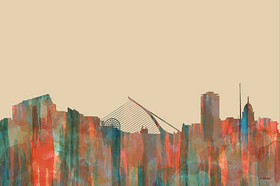 Digital Art - Dublin Ireland Skyline by Marlene Watson