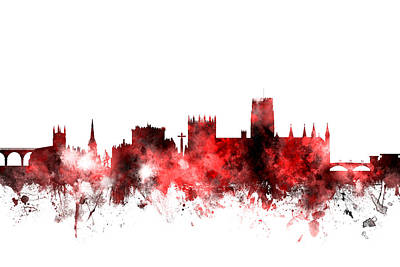 England Digital Art - Durham England Skyline Cityscape by Michael Tompsett