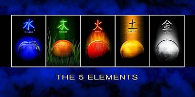 Digital Art - Asian Art 5 Elements Of Tcm by John Wills
