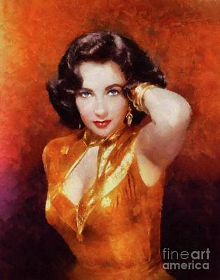 Actors Royalty-Free and Rights-Managed Images - Elizabeth Taylor Hollywood Actress by Mary Bassett